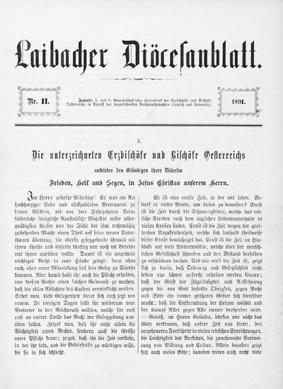 Ljubljanski škofijski list ; Laibacher Diöcesanblatt 1891