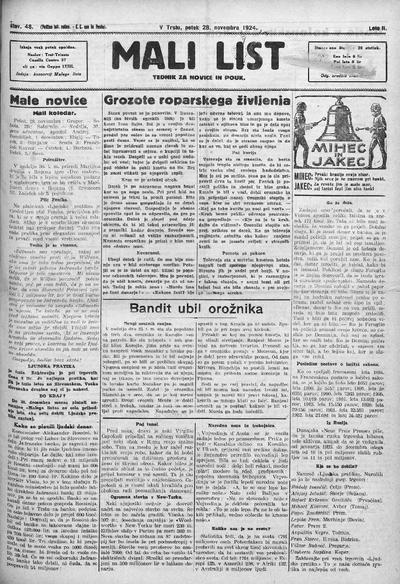 Mali list; tednik za novice in pouk 1924 11 28