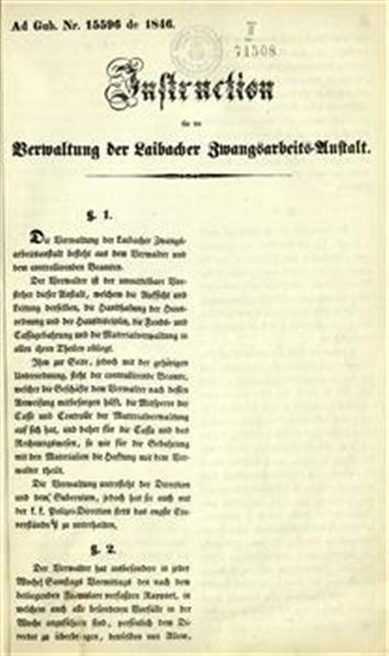 Instruction für die Verwaltung der Laibacher Zwangsarbeits-Anstalt