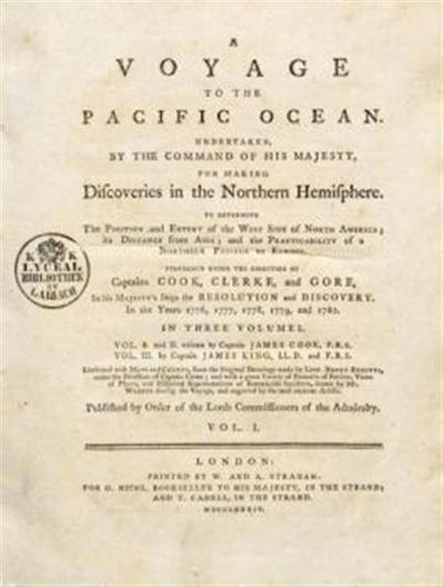 A voyage to the Pacific ocean; undertaken ... for making discoveries in the northern hemisphere, to determine the position and extent of the west side of North America; its distance from Asia; and the pratcticability of a northern passage to Europe. Performed under the direction of Captains Cook, Clerke, and Gore, in the years 1776, 1777, 1778, 1779, and 1780. In three...