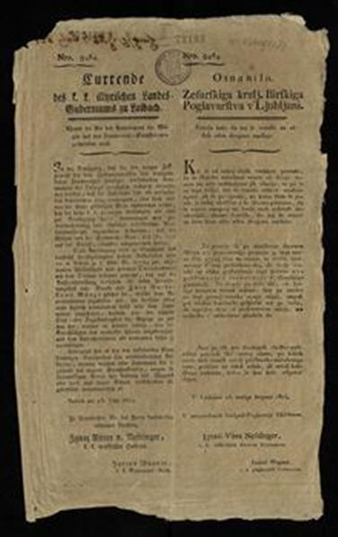 Currende des k. k. illyrischen Landes-Guberniums zu Laibach; Osnanílo zesarskiga kralj. Ilirskiga poglavarstva v' Ljubljani