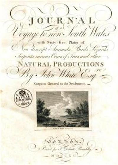 Journal of a voyage to new South Wales; with sixty-five plates of non descript animals, birds, lizards, serpents, curious cones of trees and other natural productions