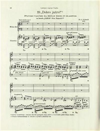 Dobro jutro; pevski valček za mešan zbor in glasovir