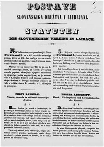 Postave Slovenskiga družtva v Ljubljani; Statuten des Slovenischen Vereins in Laibach