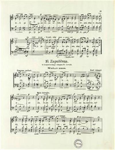 Zapuščena; iz kraljedvorskega rokopisa; mešan zbor