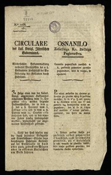 Circulare des kais. königl. Illyrischen Guberniums; Osnanilo zesarskiga kr. Ilirskiga poglavarstva