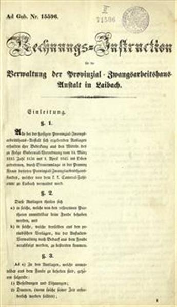 Rechnungs-Instruction fur die Verwaltung der Provinzial- Zwangsarbeitshaus-Anstalt in Laibach
