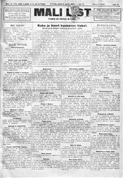 Mali list; tednik za novice in pouk
