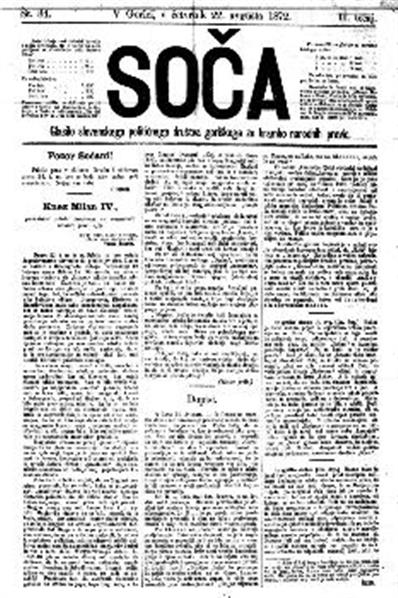 Soča; organ slovenskega političnega družtva goriškega za brambo narodnih pravic