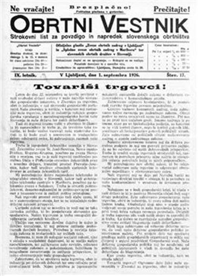 Obrtni vestnik; strokovni list za povzdigo in napredek slovenskega obrtništva