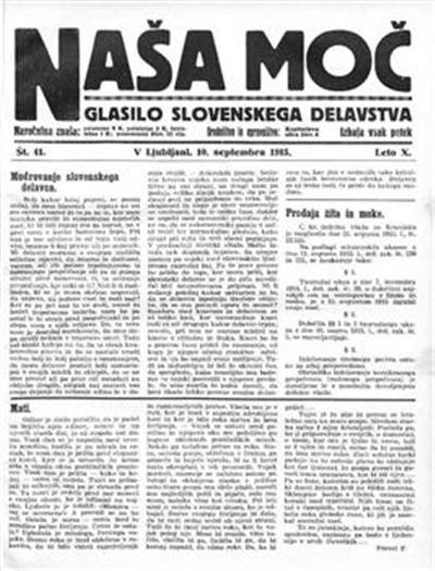Naša moč; Glasilo slovenskega delavstva