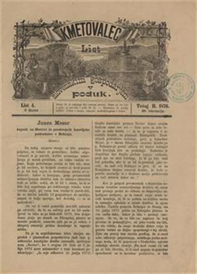 Kmetovalec: list slovenskim gospodarjem v poduk