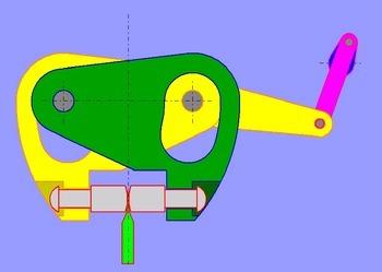Siegelzange mit Antrieb durch eine Kurbelschwinge ohne optimierten Bewegungsablauf