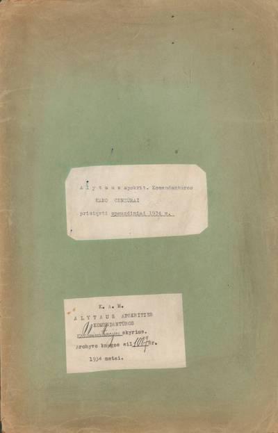 Aplankas. 1934