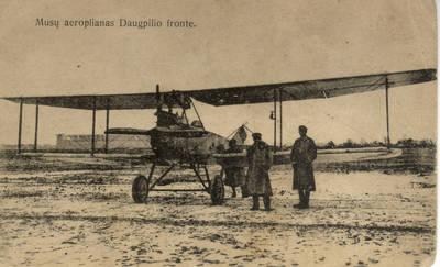 Atvirukas. Musų aeroplianas Daugpilio fronte