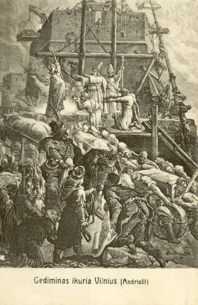 Atvirukas. Gediminas ikuria Vilnius (Andriolli)