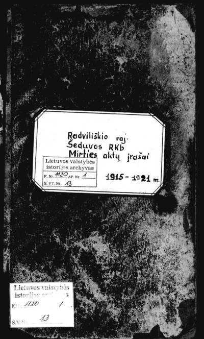 Šeduvos RKB mirties metrikų knyga. 1915--1921 m.