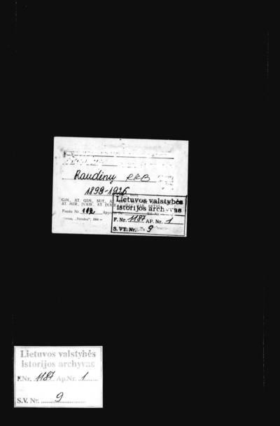 Raudėnų RKB mirties metrikų knyga. 1898--1926 m.