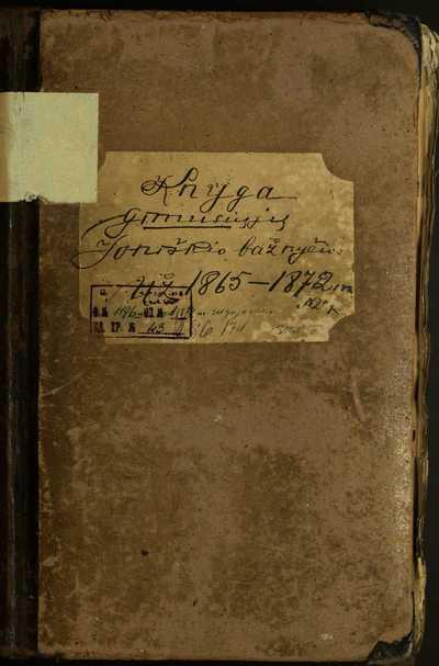 Joniškio RKB gimimo metrikų knyga. 1865--1872 m.