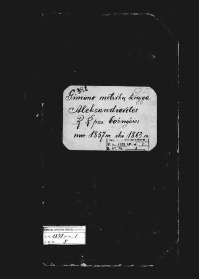 Aleksandravėlės RKB gimimo metrikų knyga. 1857--1863 m.