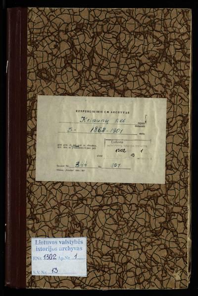 Kriaunų RKB santuokos metrikų knyga. 1868--1901 m.