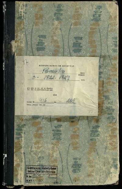 Pandėlio RKB santuokos metrikų knyga. 1922--1927 m.