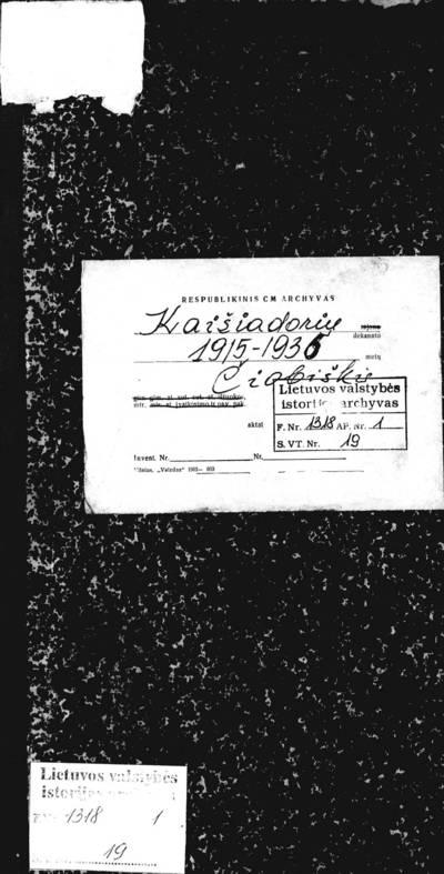 Čiobiškio RKB mirties metrikų knyga. 1915--1936 m.