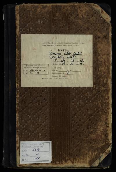 Anykščių RKB gimimo metrikų knyga. 1904--1909 m.