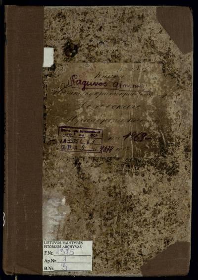 Raguvos RKB gimimo metrikų knyga. 1869--1874 m.