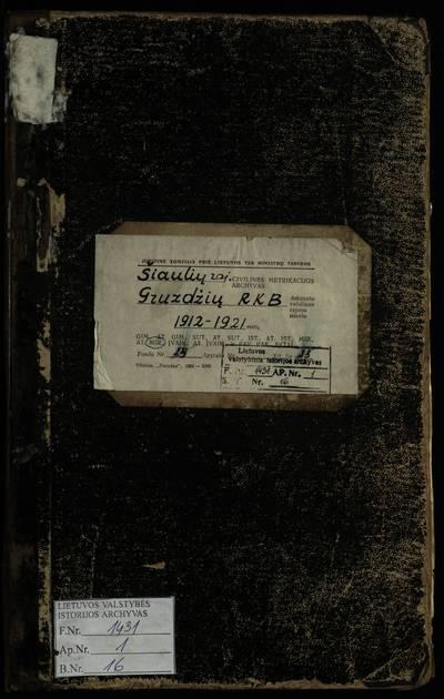 Gruzdžių RKB mirties metrikų knyga. 1912--1921 m.