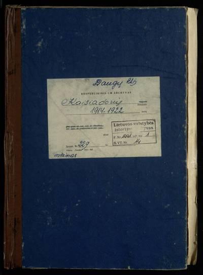 Daugų RKB mirties metrikų knyga. 1914--1922 m.