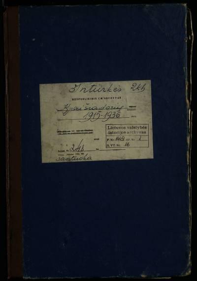 Inturkės RKB santuokos metrikų knyga. 1915--1936 m.