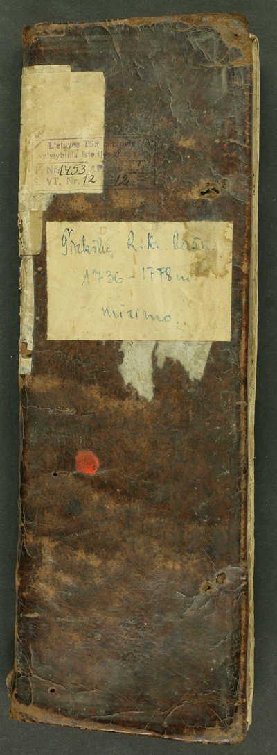 Tirkšlių RKB mirties metrikų knyga. 1736--1778 m.