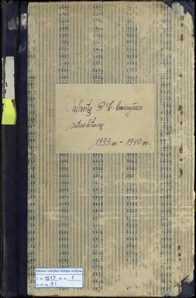 Salantų RKB santuokos metrikų knyga. 1933--1940 m.
