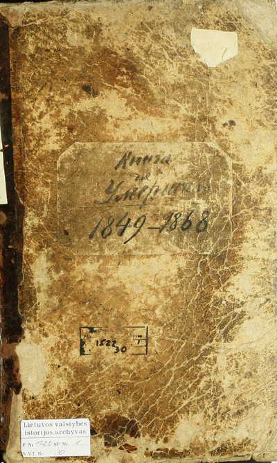 Tytuvėnų RKB mirties metrikų knyga. 1849--1868 m.