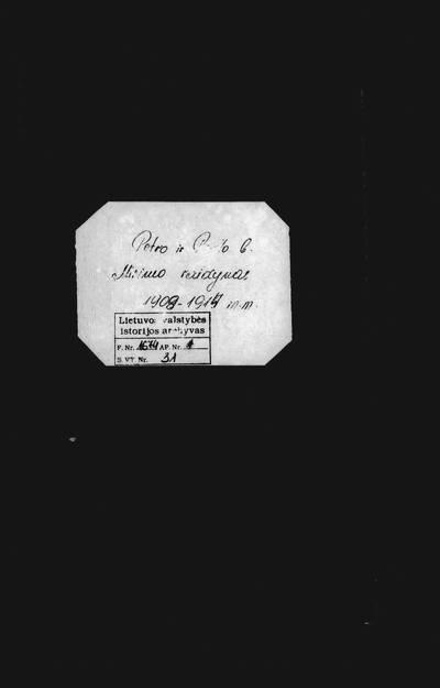 Panevėžio RKB 1908--1914 m. mirties metrikų abėcėlinė rodyklė. XX a. I pusė