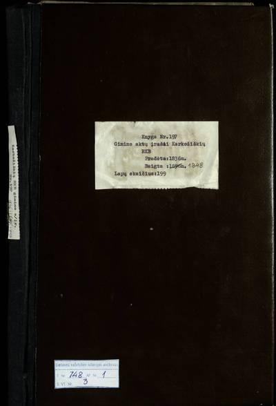 Karkažiškės RKB gimimo metrikų knyga. 1836--1848 m.