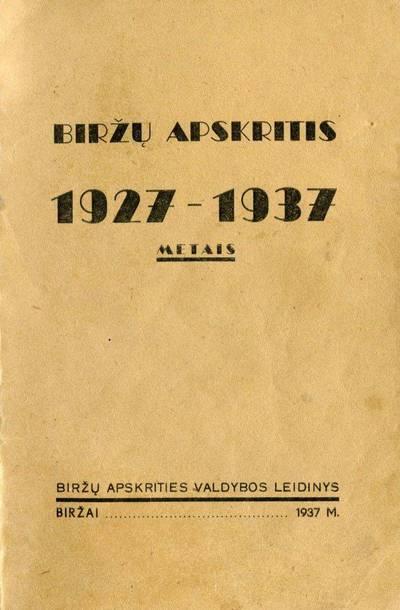 Biržų apskritis 1927–1937 metais. 1937