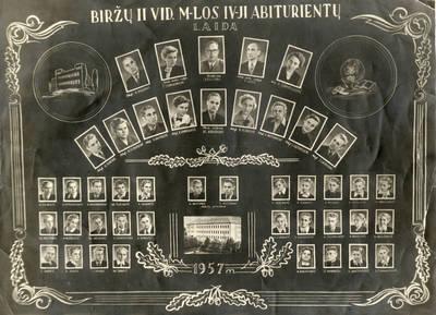 Biržų II vidurinės mokyklos IV-oji abiturientų laida. 1957