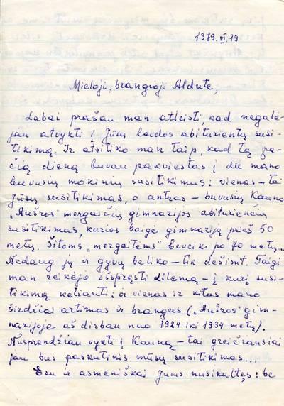 Juozo Vosyliaus laiškai. 1979