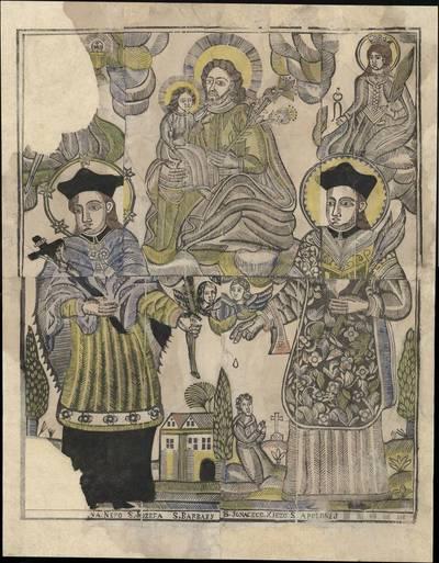 Šv. Jonas Nepomukas, šv. Juozapas, šv. Barbora, šv. Ignacas Lojola, šv. Apolonija. 1800