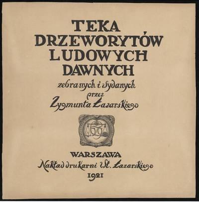 Zigmo Lazarskio raižinių rinkinio titulinis lapas. 1921