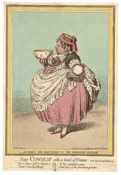 James Gillray. Enter Cowslip with bowl of Cream (Įėjo raktažolė su dubeniu grietinėlės). 1795