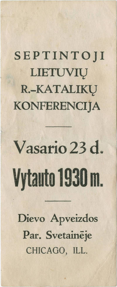 Informacinis lapelis. Septintoji lietuvių r.-katalikų konferencija. 1930