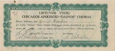 """Liudijimas. Lietuvos Vyčių Čikagos apskrities """"Dainos"""" choro rėmėjo. 1933"""