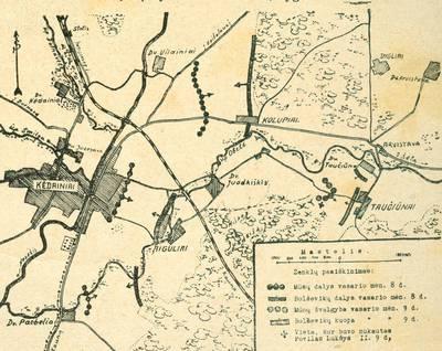 Nežinomas autorius. Kėdainių apskrities žemėlapis, kuriame pažymėta Lietuvos nepriklausomybės kovų dalyvio Povilo Lukšio žūties vieta. 1922