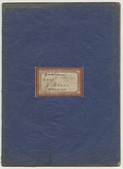 Bolys Sabaitis. Bolio Sabaičio braižybos sąsiuvinis. 1938-10-13