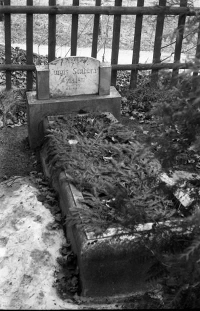 [Rašytojos Ievos Simonaitytės tėvo Jurgio Stubros kapas Žiaukų kaimo kapinaitėse] / Bernardas Aleknavičius. - 1990