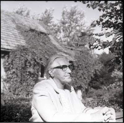 [Rašytoja Ieva Simonaitytė prie savo vasaros rezidencijos vartelių. Vingio g. 11. Priekulė] / Bernardas Aleknavičius. - 1976.VIII.23