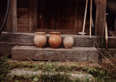 Nežinomas asmuo. D. ir Z. Kalesinskų liaudies amatų mokyklos ekspedicija Grivančių kaime Šimkevičių šeimoje. 1995-06-12